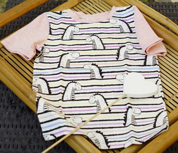 tee-shirt jersey magique rose dino