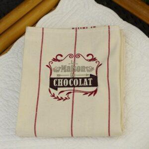 Torchon de cuisine rouge, brodé chocolat