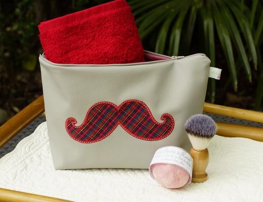 Trousse de toilette pour homme, motif moustache