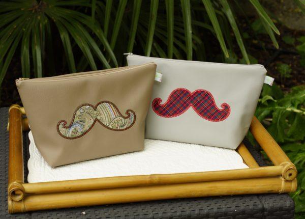 Trousses de toilette pour homme broderie motif moustache