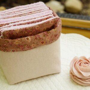 Corbeille de lingettes rose zéro déchet